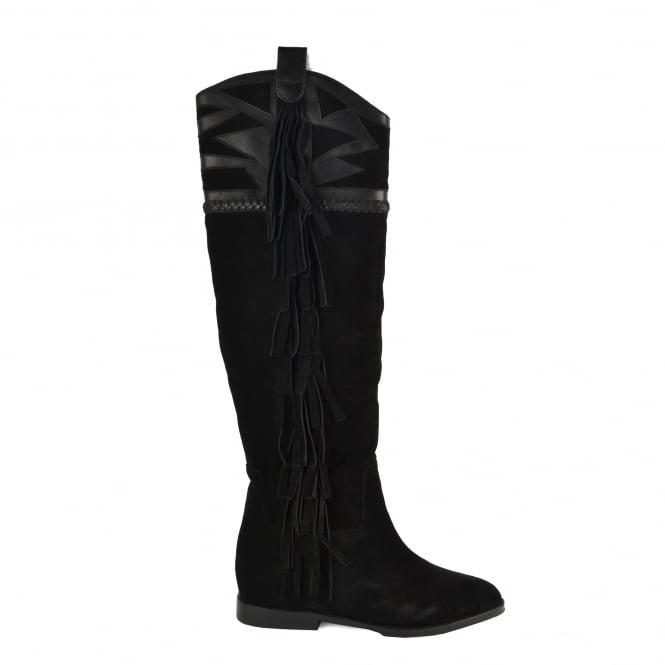 Ash JEZABEL Knee High Boots Black Suede & Leather