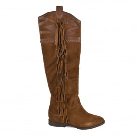 JEZABEL Knee High Boots Russet Suede & Leather