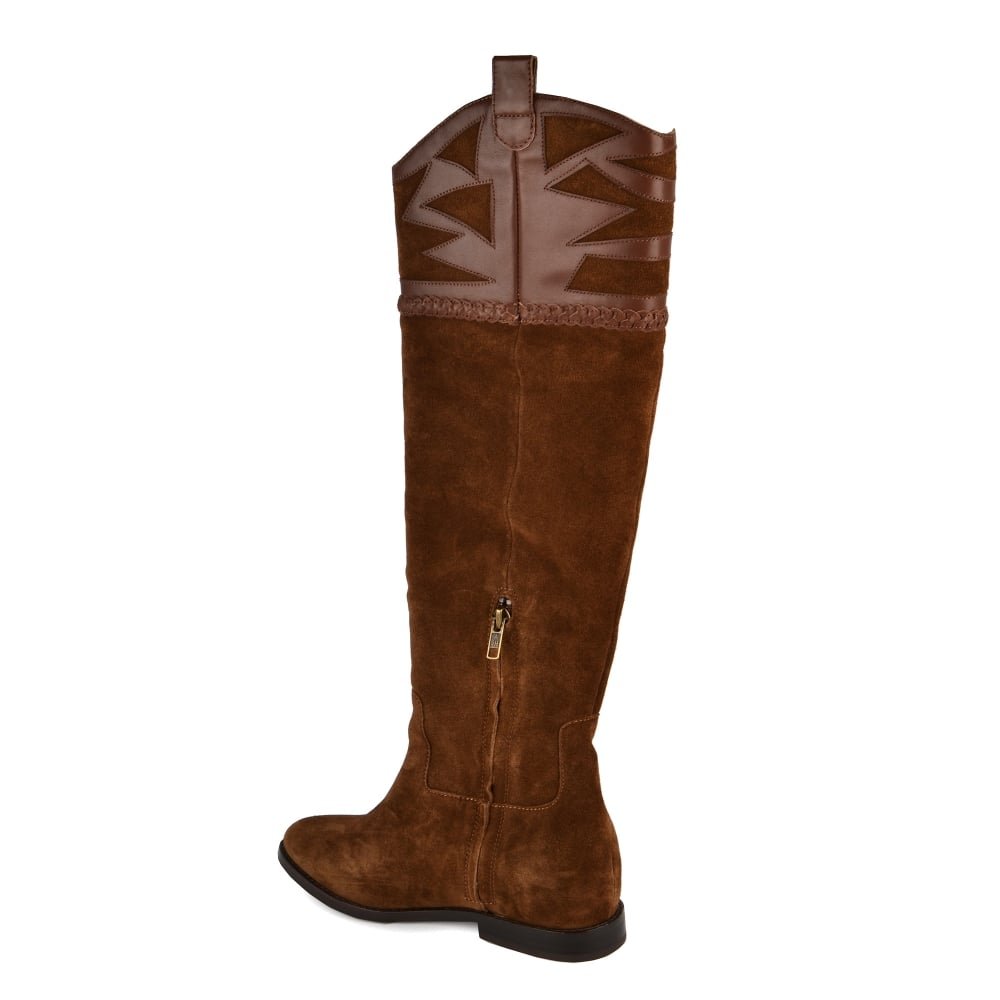 ac659006e29 JEZABEL Knee High Boots Russet Suede & Leather