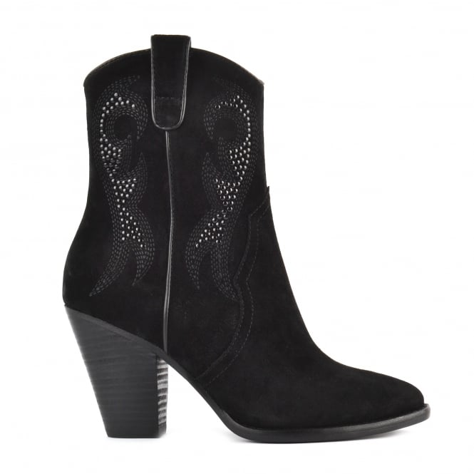 Ash JOANNA Embroidered Boots Black Suede & Studs