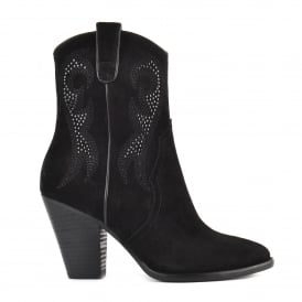 JOANNA Embroidered Boots Black Suede & Studs