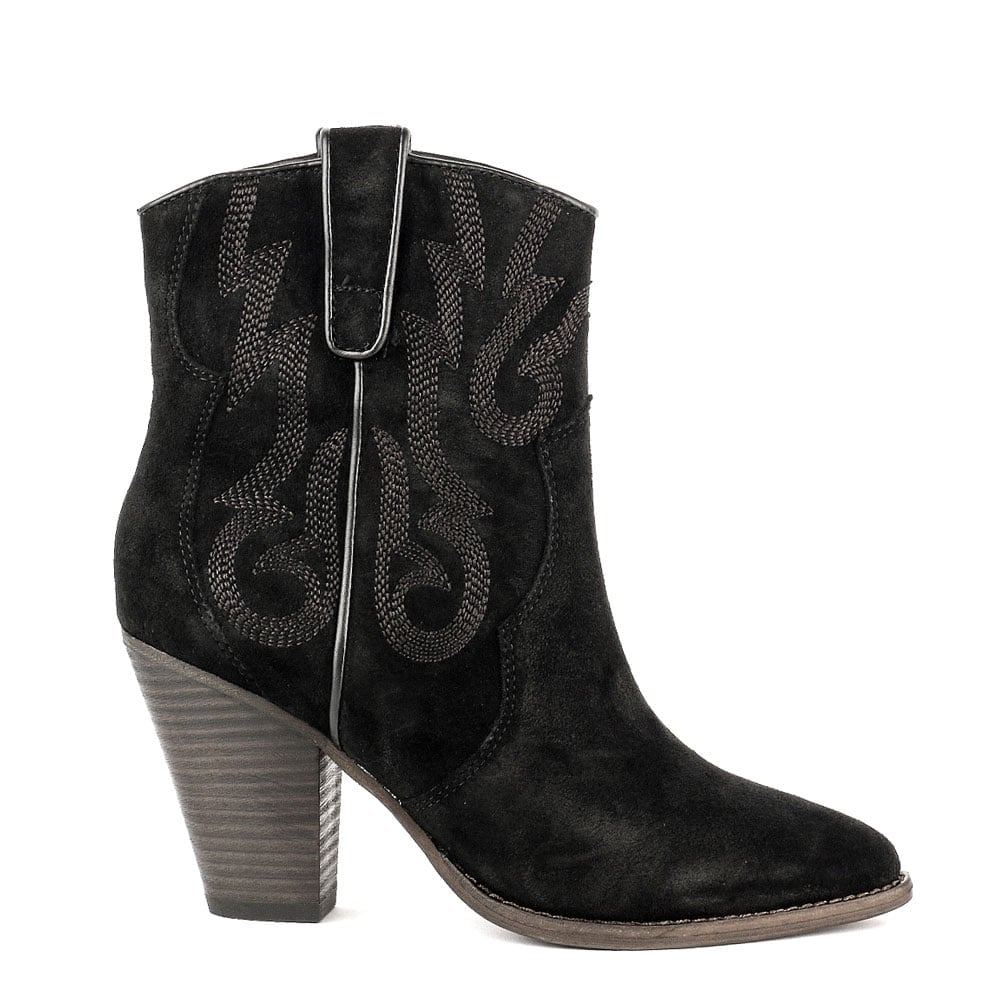c21bdfafb61b3 Ash JOE Embroidered Ankle Boots Black Suede