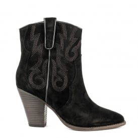 JOE Embroidered Midi Boots Black Suede