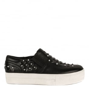 Ash JOKE Embossed Trainers Black Leather & Silver Studs