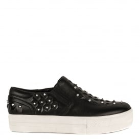 JOKE Embossed Trainers Black Leather & Silver Studs