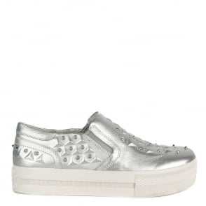 Ash JOKE Embossed Trainers Silver Leather & Silver Studs