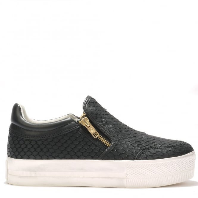 Ash JORDY Slip-On Trainers Black Python Effect Leather