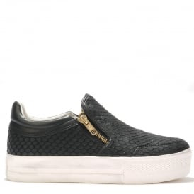 JORDY Slip-On Trainers Black Python Effect Leather
