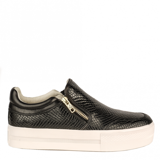 Ash JORDY Slip-On Trainers Black Snake Embossed Leather