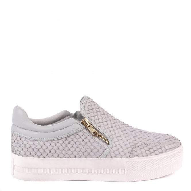 Ash JORDY Slip-On Trainers Grey Python Effect Leather