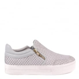 JORDY Slip-On Trainers Grey Python Effect Leather