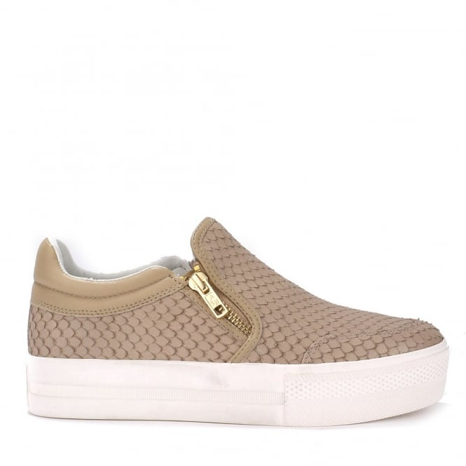 Ash JORDY Slip-On Trainers Taupe Python Effect Leather