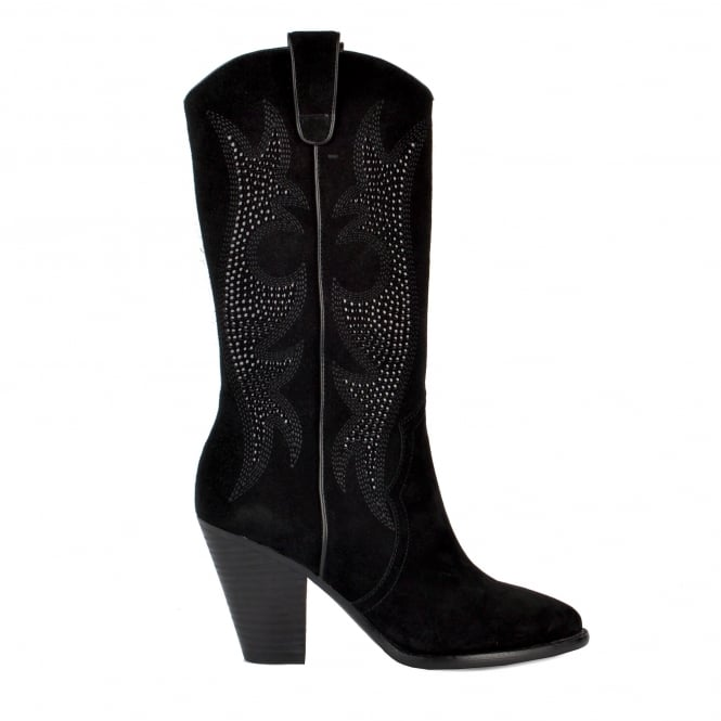 Ash JOYCE Embroidered Boots Black Suede & Studs