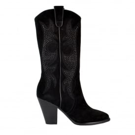 JOYCE Embroidered Boots Black Suede & Studs
