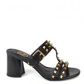 20caea2285e0 JUNE Heeled Sandals Black Leather   Gold Studs