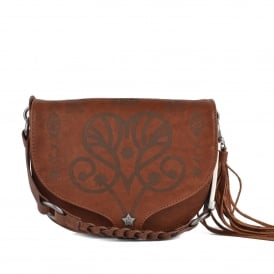 KAREN Cross Body Saddle Bag Bruciato Leather