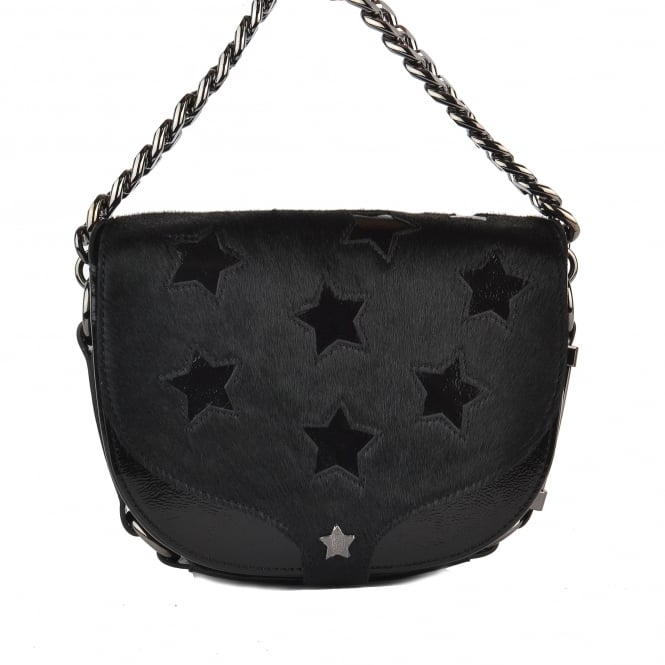 Ash KAREN STAR Cross Body Bag Black Patent Leather & Pony Hair