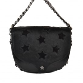 KAREN STAR Cross Body Bag Black Patent Leather & Pony Hair
