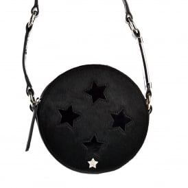 KARINA STAR Round Box Bag Black Patent Leather & Pony Hair