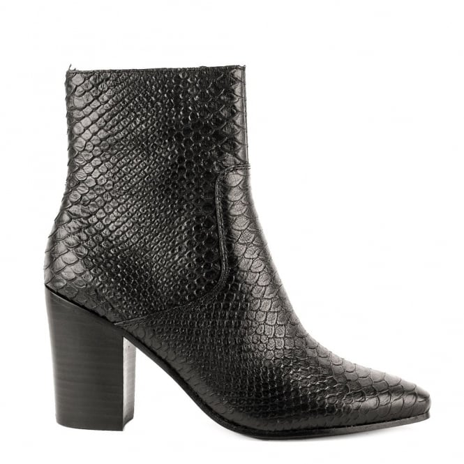 Ash KATE Heeled Boots Black Python Textured Leather