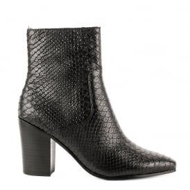 KATE Heeled Boots Black Python Textured Leather