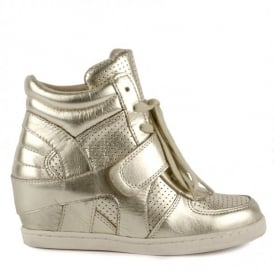 Kid's BABE BIS Wedge Trainers Platine Leather
