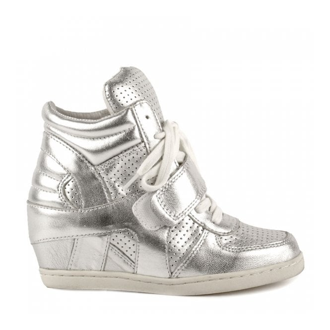 Ash Kid's BABE BIS Wedge Trainers Silver Leather
