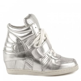 Kid's BABE BIS Wedge Trainers Silver Leather