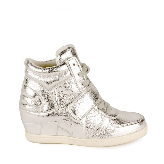 Ash Kid's BABE Low Wedge Trainers Textured Silver Leather