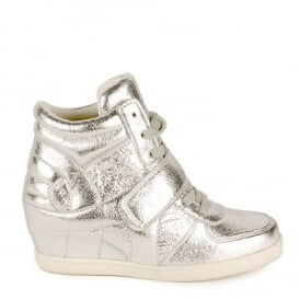 Kid's BABE Low Wedge Trainers Textured Silver Leather