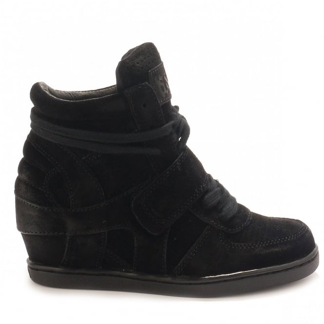 Ash Kid's BABE Wedge Trainers Black Suede with Black Sole