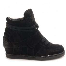 Kid's BABE Wedge Trainers Black Suede with Black Sole
