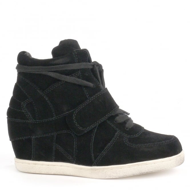 Ash Kid's BABE Wedge Trainers Black Suede with White Sole