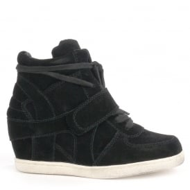 Kid's BABE Wedge Trainers Black Suede with White Sole