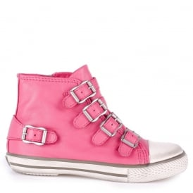 Kid's FANTA Bubblegum Pink Leather Trainers