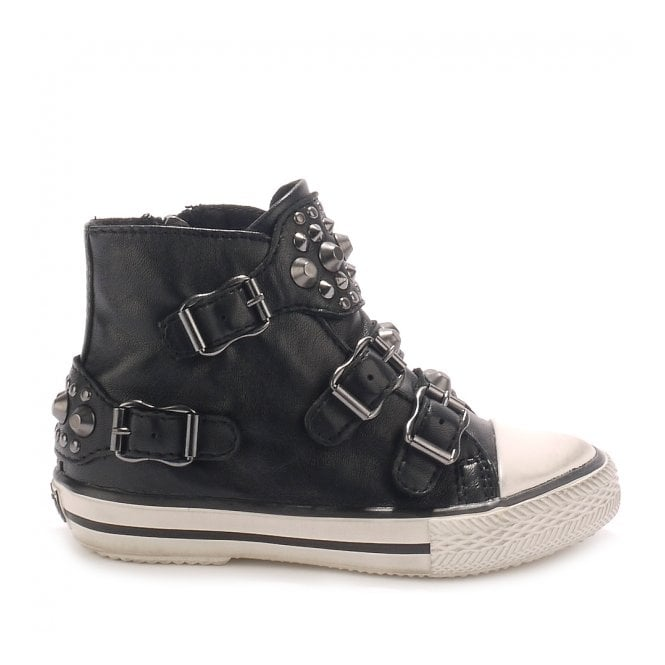 Ash Kid's FROG Trainers Black Leather & Gunmetal Studs