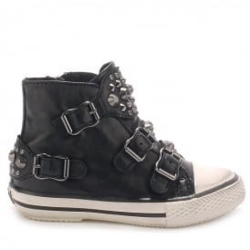 Kid's FROG Trainers Black Leather & Gunmetal Studs
