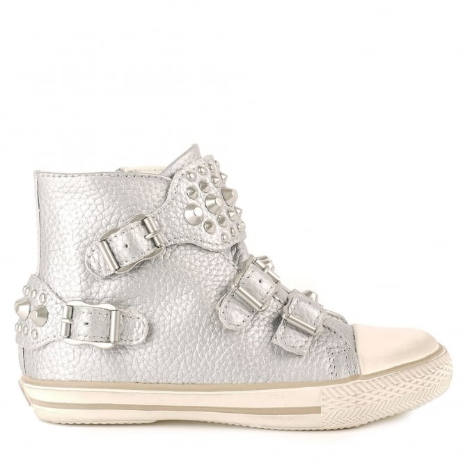 Ash Kid's FROG Trainers Silver Leather & Silver Studs