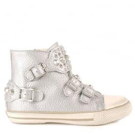 Kid's FROG Trainers Silver Leather & Silver Studs