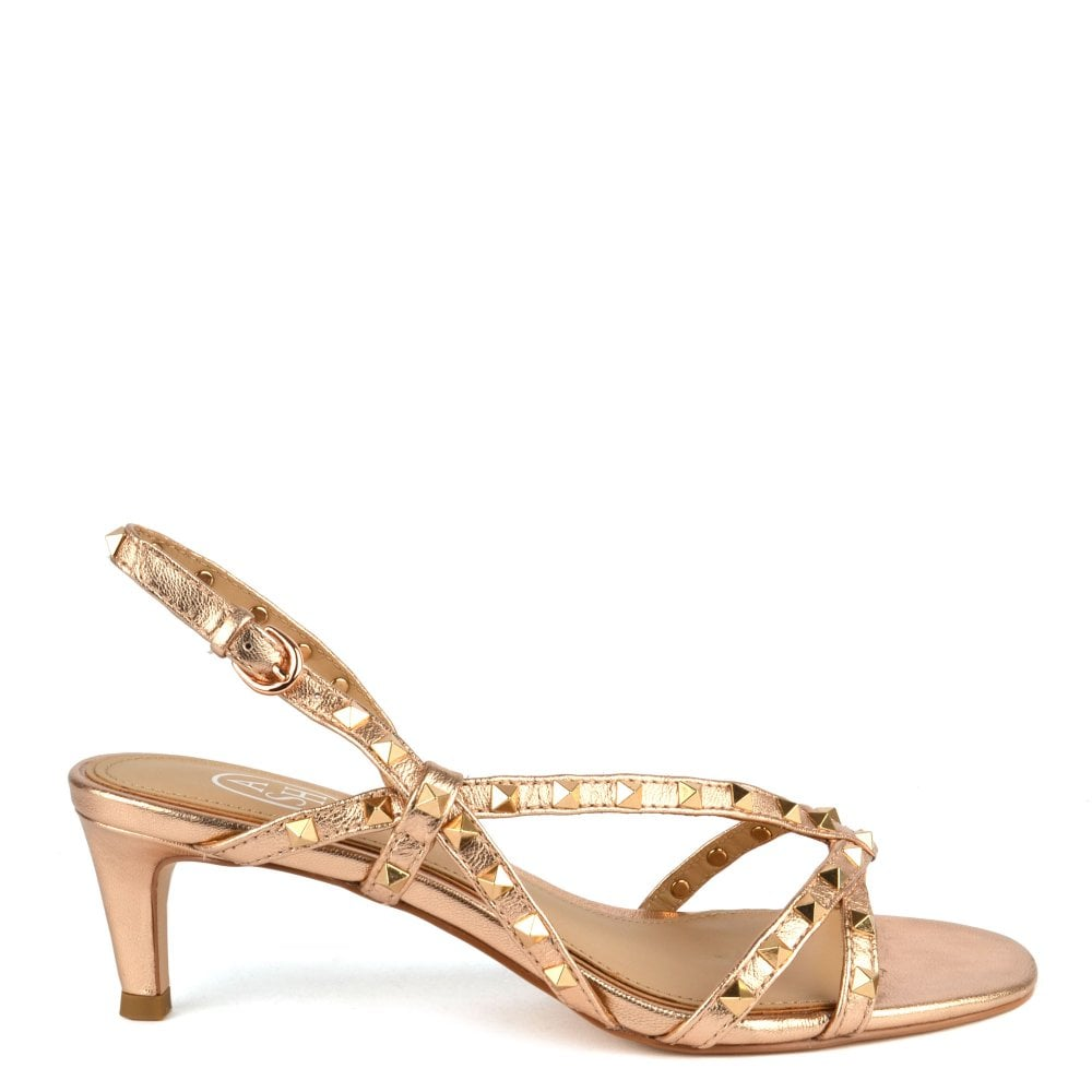 bb034f512 Ash KITTY Heel Sandals in Rose Gold Leather   Studs