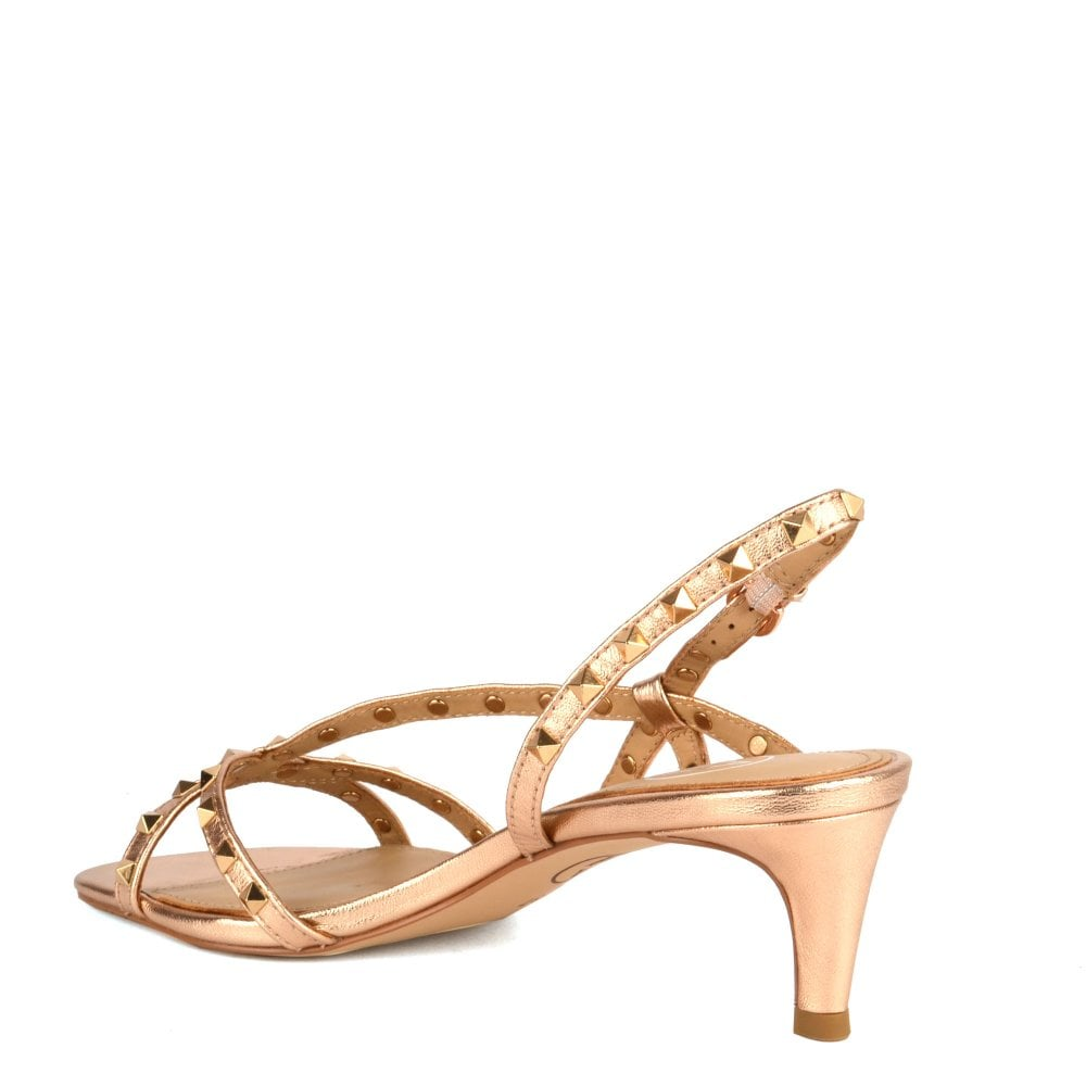85f9e0085 KITTY Heel Sandals in Rose Gold Leather  amp  Studs