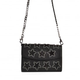 KRISS STAR Wallet On Chain Black Leather & Silver Studs