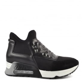 LASER GOTH Trainers Black Leather & Neoprene