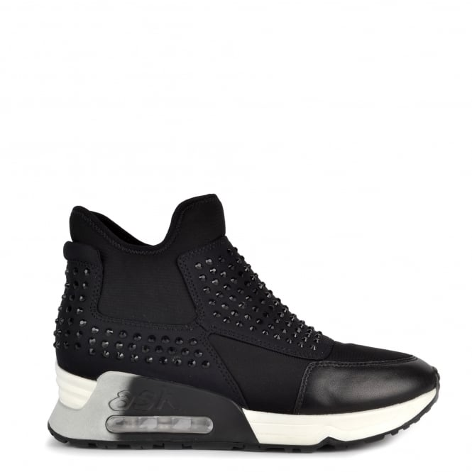 Ash LASER STONE Trainers Black Neoprene & Diamantes