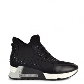 LASER STONE Trainers Black Neoprene & Diamantes