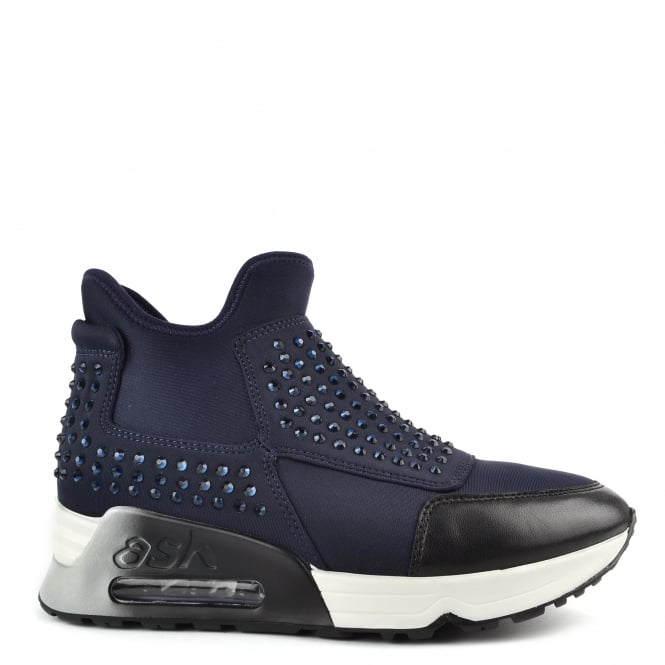 Ash LASER STONE Trainers Midnight Blue Neoprene & Diamantes