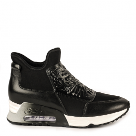 LAZER BIS Trainers Black Leather & Neoprene