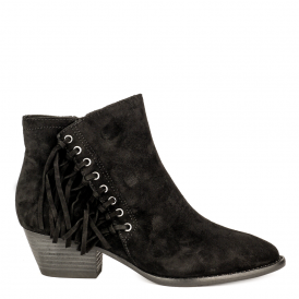 LENNY Fringed Boots Black Suede