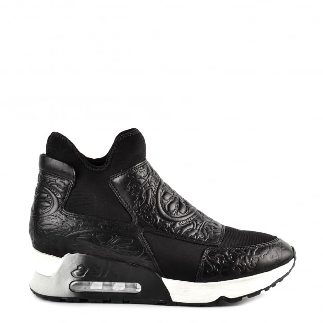 Ash LEXI Trainers Black Neoprene & Embossed Leather
