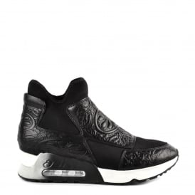 LEXI Trainers Black Neoprene & Embossed Leather